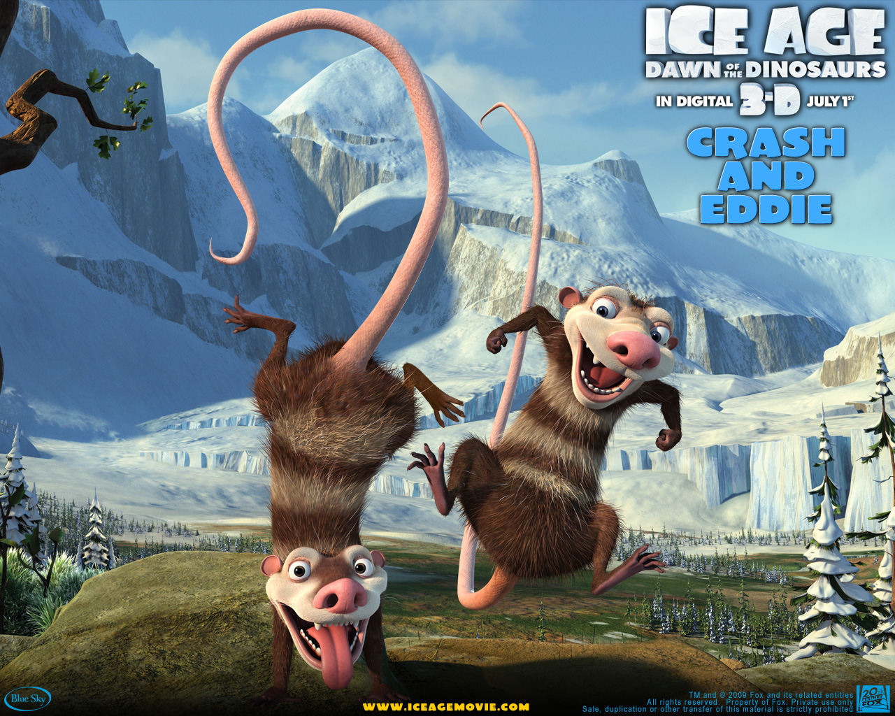Crash and Eddie from Ice Age wallpaper - Click picture for high resolution