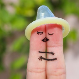 cute fingers with condom hat