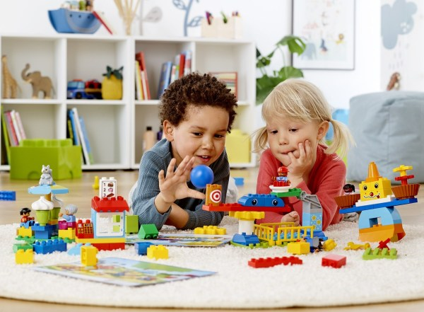 Preschool Child Playing with Legos