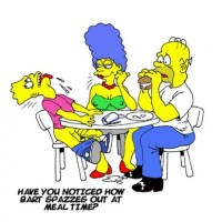 Marge Simpson is giving a handjob to her son, Bart Simpson, during dinner.