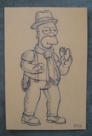 Hipster Homer drawn for me by animator Fill Marc Sagadraca