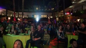 Partygoers watching the screening of Tree House of Horror XXIV