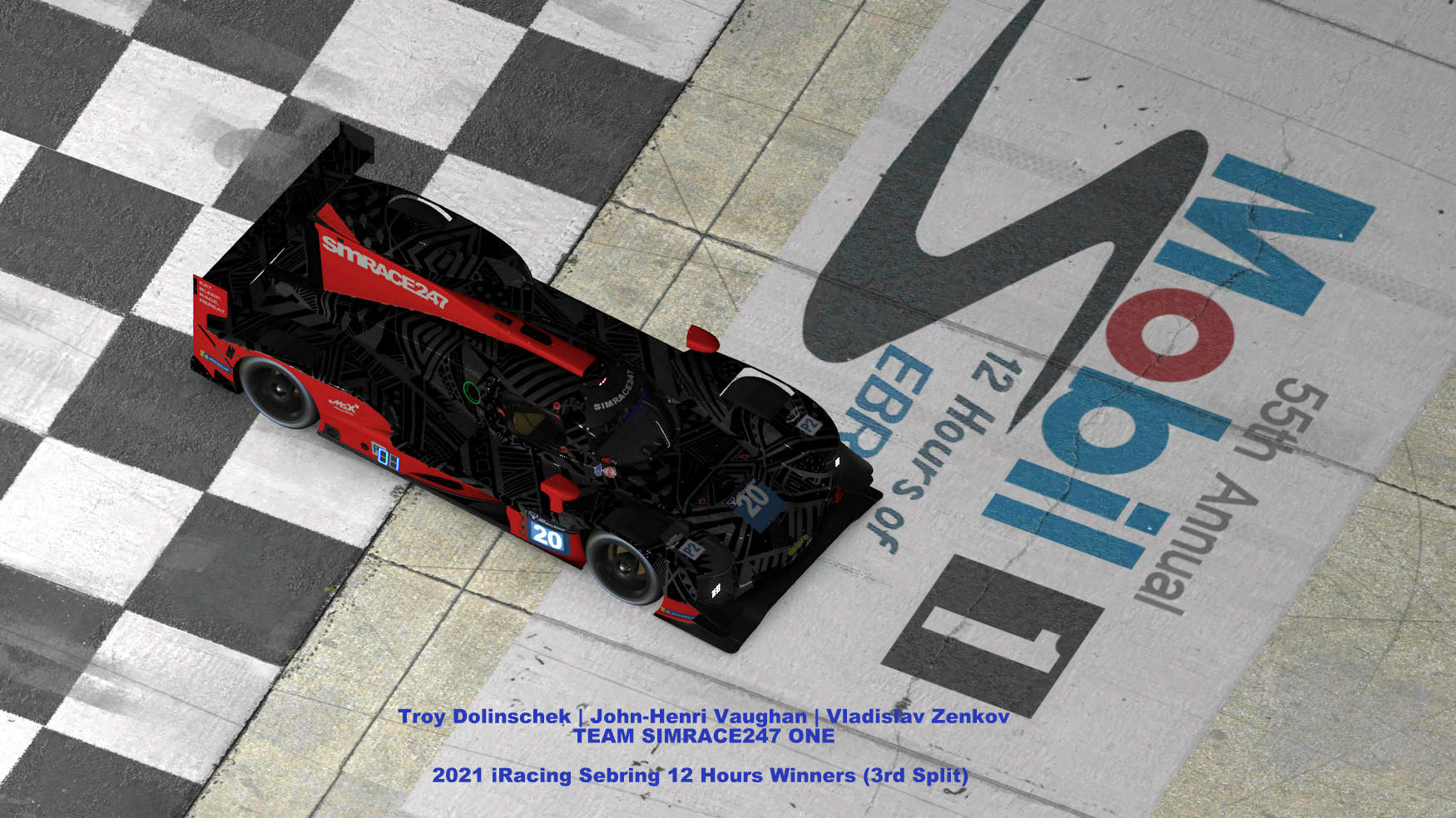 iRacing Sebring 12H: Team SIMRACE247 win third split