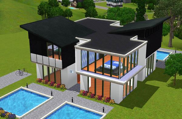 Sims 3 Maison moderne noire et blanche House black and