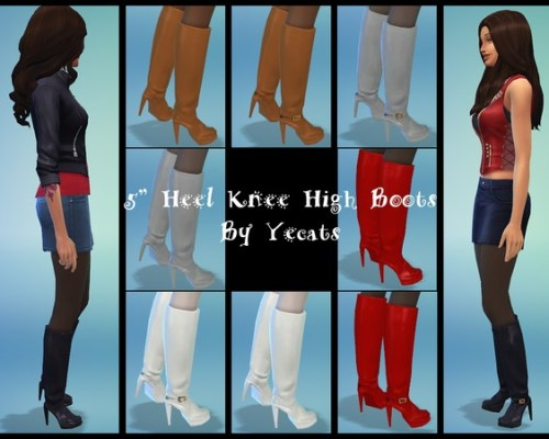 Five Inch Heel Knee High Boots by Yecats at The