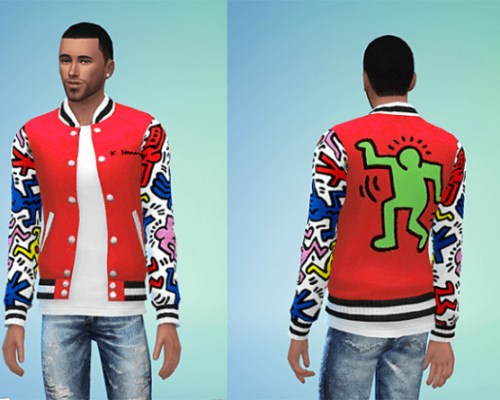 Joy Rich Keith Haring Letterman Jacket