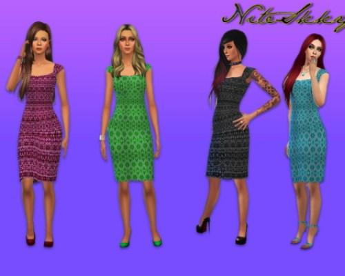 Four Jacquard print dresses