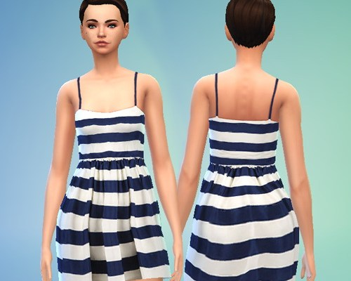 Striped Navy and White Dress