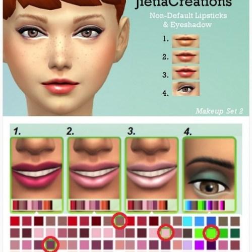Non-default lipsticks and eyeshadows
