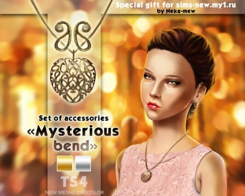 Mysterious bend necklace and earrings