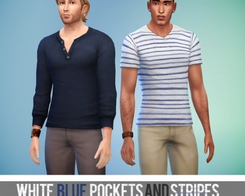 White, Blue, Pockets and Stripes 8 tops by Rope
