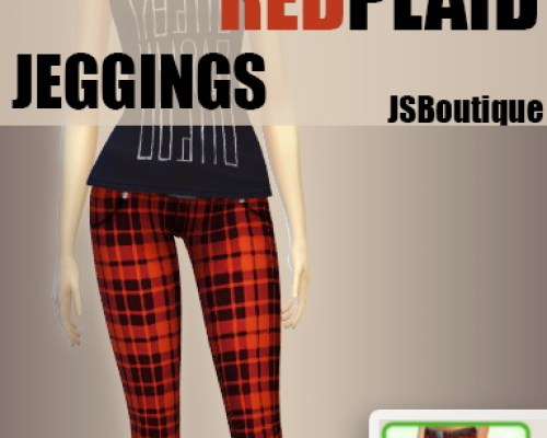 Jeggings Red Plaid plus Dark Blue NON-DEFAULT