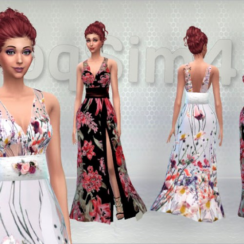 Long dresses with floral pattern