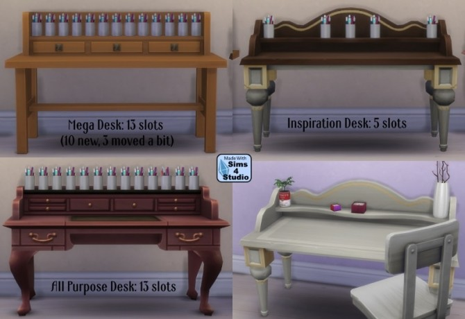 Clutter Your World 3 Base Game Desks With Slots By OM