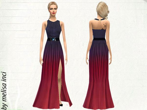 Halter Ombre Color High Slit Maxi Dress By Melisa Inci