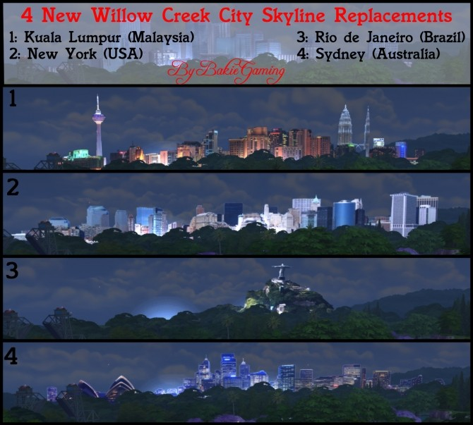 4 New Willow Creek City Skyline Replacements By Bakie