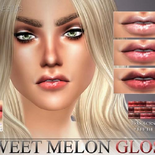 Sweet Melon Gloss N24 + Teeth by Pralinesims