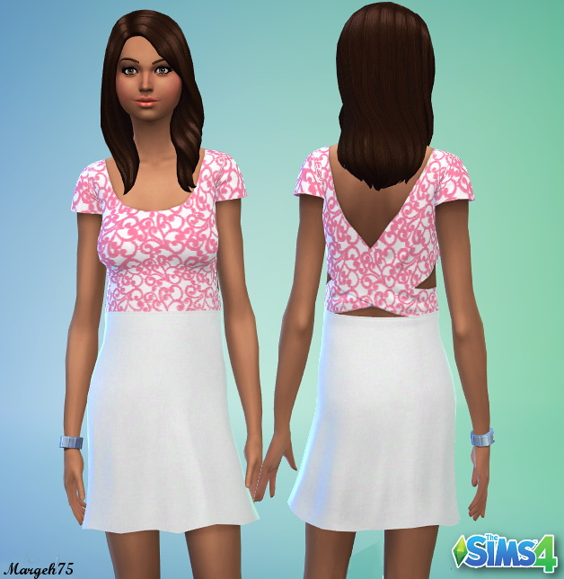 A Touch Of Pink Sims 4 Dress By Margeh75 At Sims