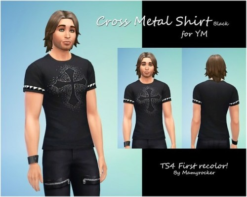 Cross Metal Shirt Black YM by Mamyrocker