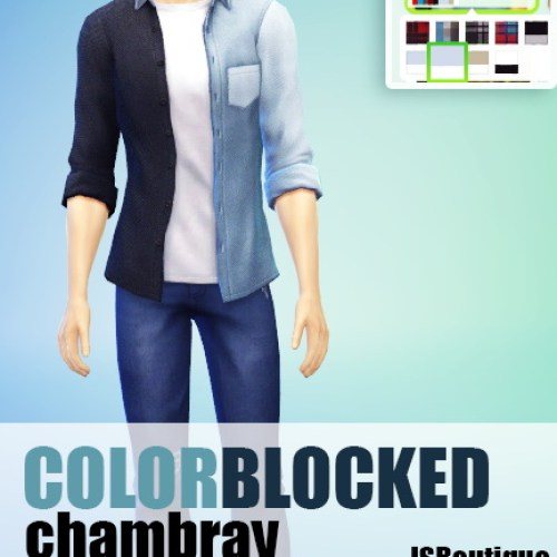 Colorblocked Chambray Shirt