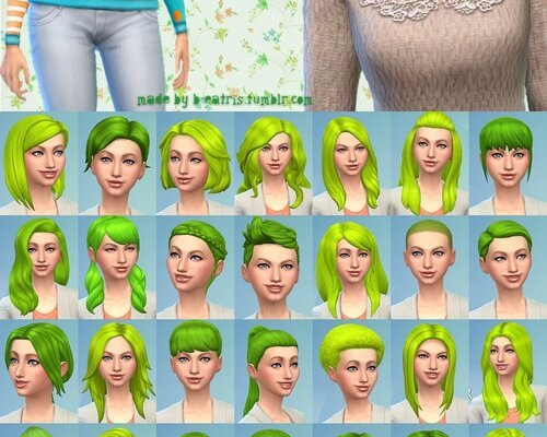 41 hairstyles recolored in light green color