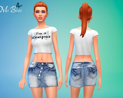 Rugged denim skirt and white crop top by Ms Blue at The