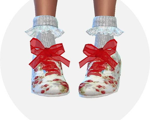 Male ribbon floral oxford & frill socks