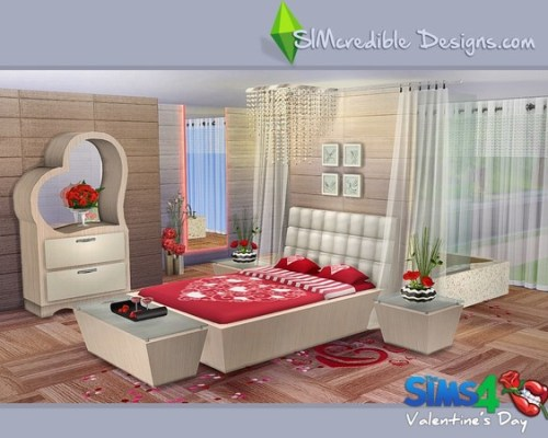 Valentines Day 2016 bedroom with bathtub by SIMcredible