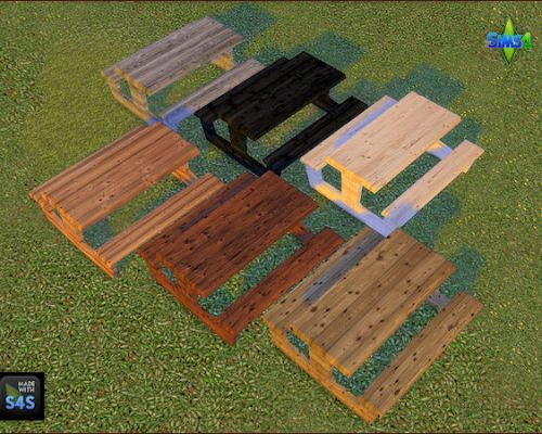 6 wooden picnic tables by Mabra