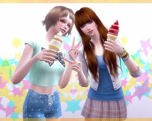 Soft ice-cream poses