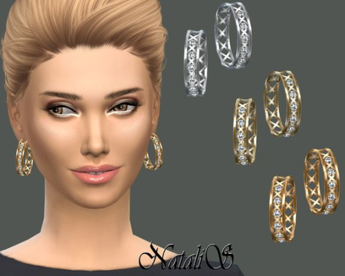 Cage and crystals hoop earrings by NataliS