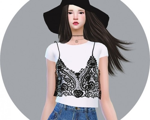 Lace Bustier With TShirt