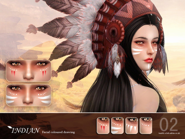 Indian Facial Colored Drawing 02 By S-Club LL