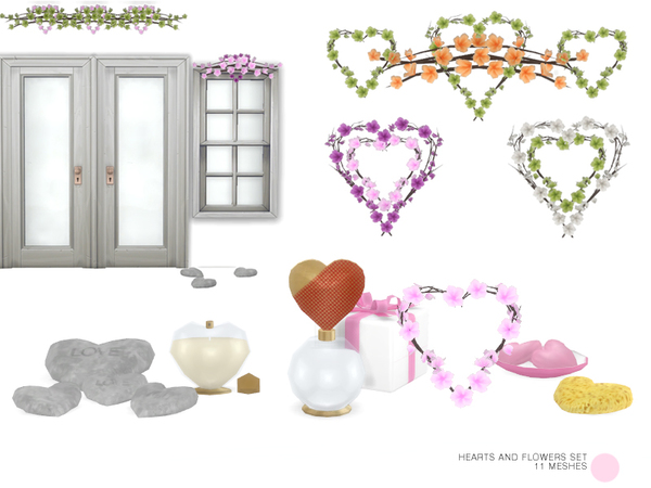 Heart And Flowers Set By DOT
