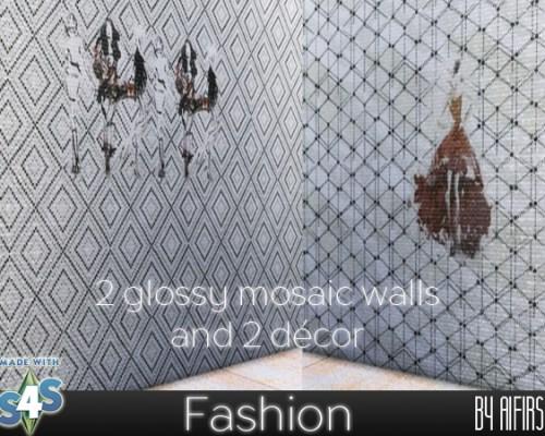 2 glossy mosaic walls