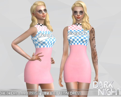 Checkerboard Mini Bodycon Dress by DarkNighTt