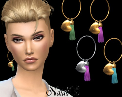 Hoop earring with heart pendant LEFT by NataliS