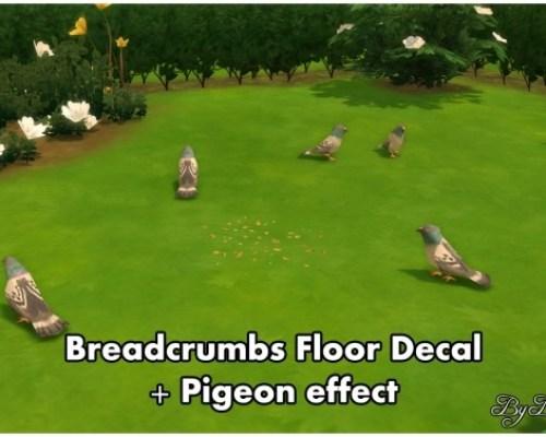 Breadcrumbs floor decal + Pigeon Effect by Bakie