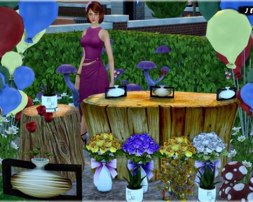 Set Vol 75 Decoratives Mushrooms, Balloons, Plants and Tables 9 Items