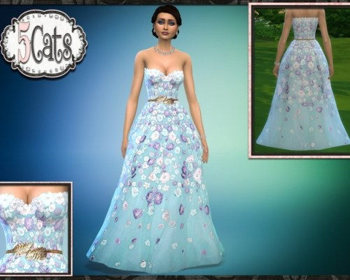 Spring Floral Strapless Ball Gown
