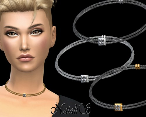 Double Cable Necklace Crystal Pendant by NataliS