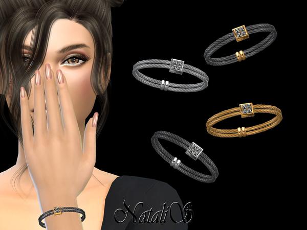 Double Cable Bracelet Crystal Pendant By NataliS