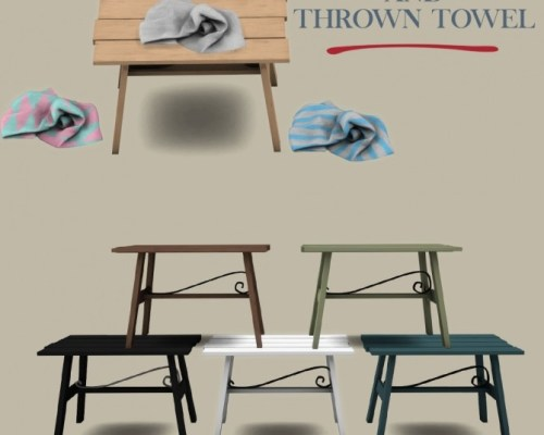 Lori Table and Thrown Towel