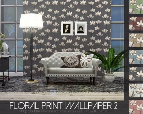 Floral Print Wallpaper 2 by Rirann