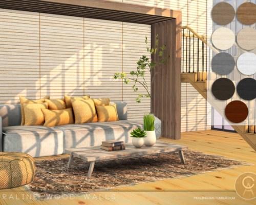 Praline Wood Walls by Pralinesims