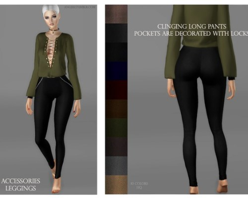 Clinging long pants pockets are decor by ANGISSI