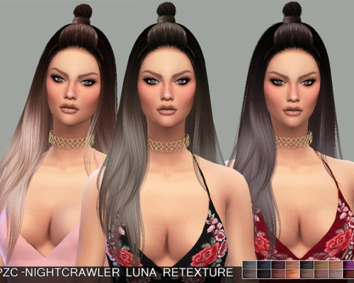 PZC Retexture Nightcrawler Luna Hair by Pinkzombiecupcakes