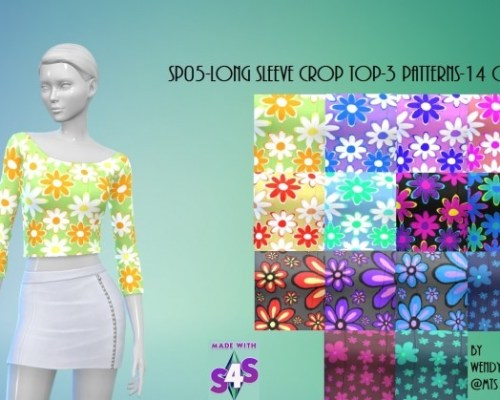 SP05 Long Sleeve Crop Top by wendy35pearly
