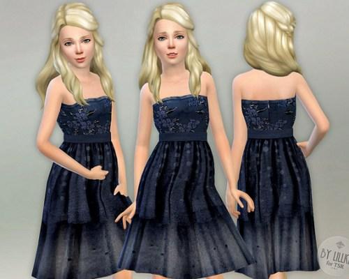 Dark Blue Embroidered Dress by lillka