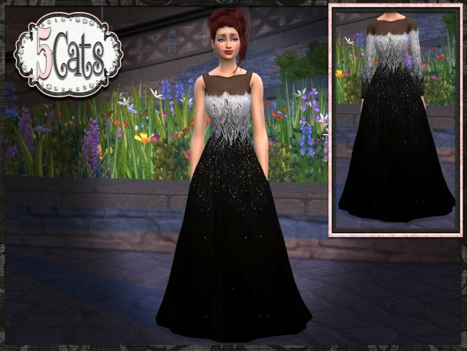Black Silver Tulle Gown